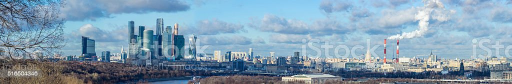 Panoramic winter view of Moscow city from Sparrow Hills, Russia stock photo