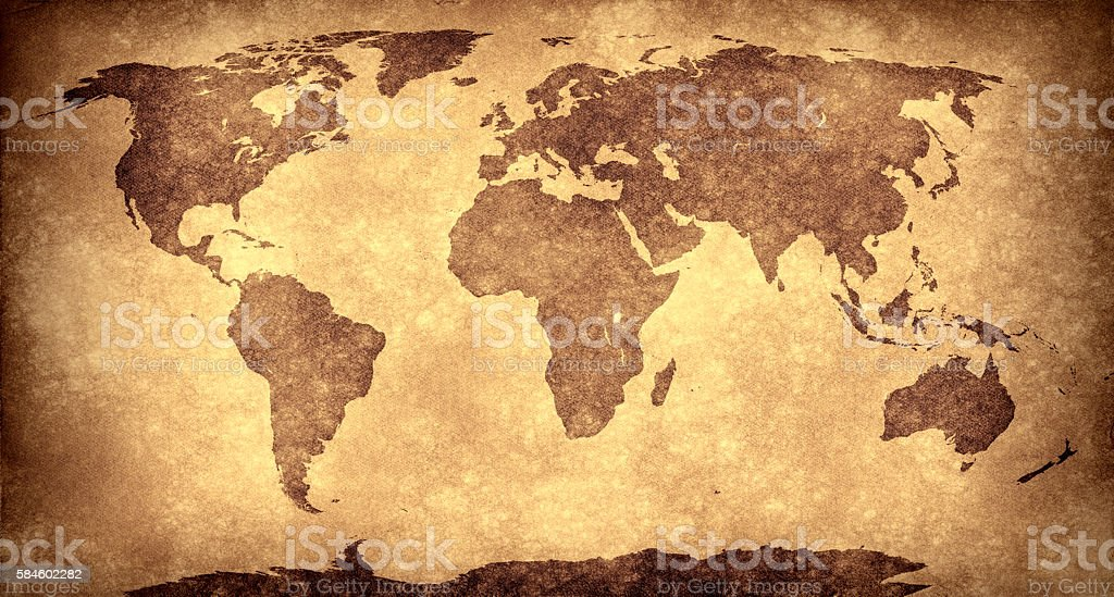 Panoramic World map on grungy paper stock photo