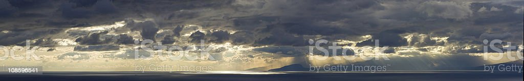 Panoramic XXXL sunset over ocean, with dramatic sky and rain royalty-free stock photo