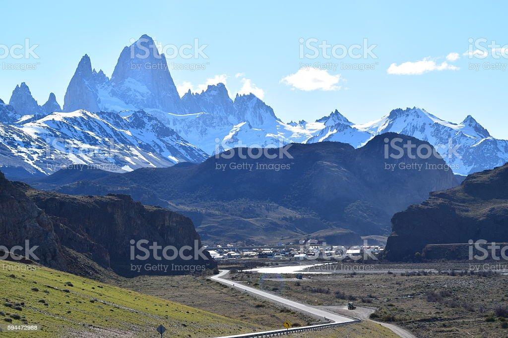 Panoramica de El Chalten stock photo