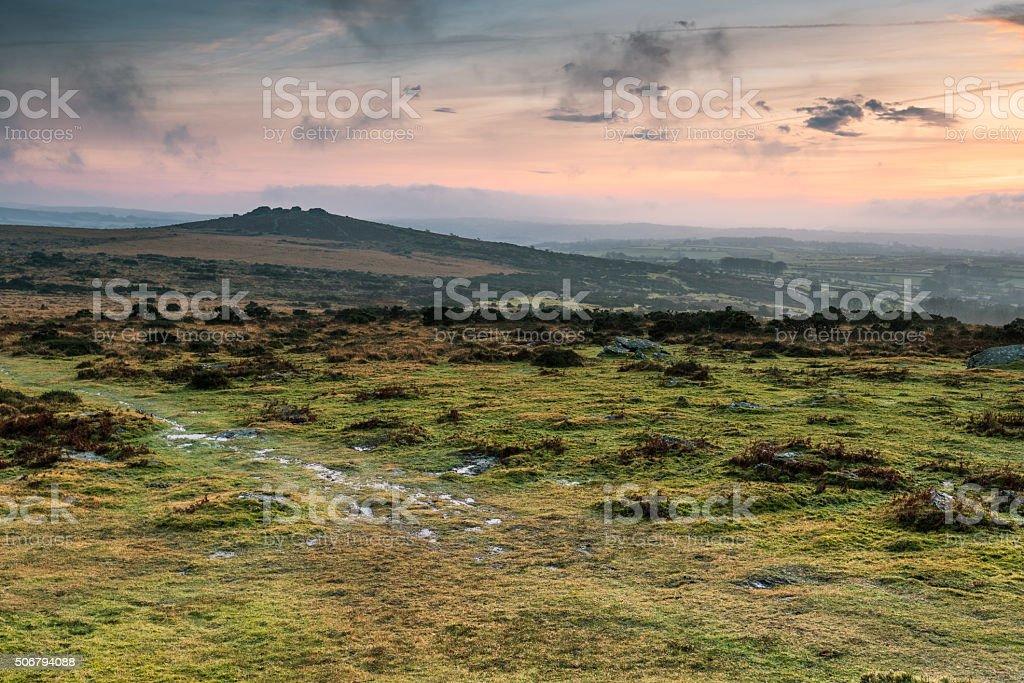 Panoramicview on Dartmoor hills stock photo