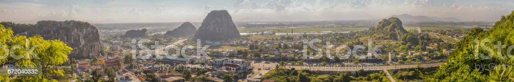 Panoramique View of Da Nang City from Marble Mountains stock photo