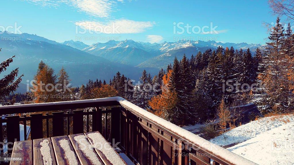 Panoriamic View in Anzère, Valais, Switzerland stock photo