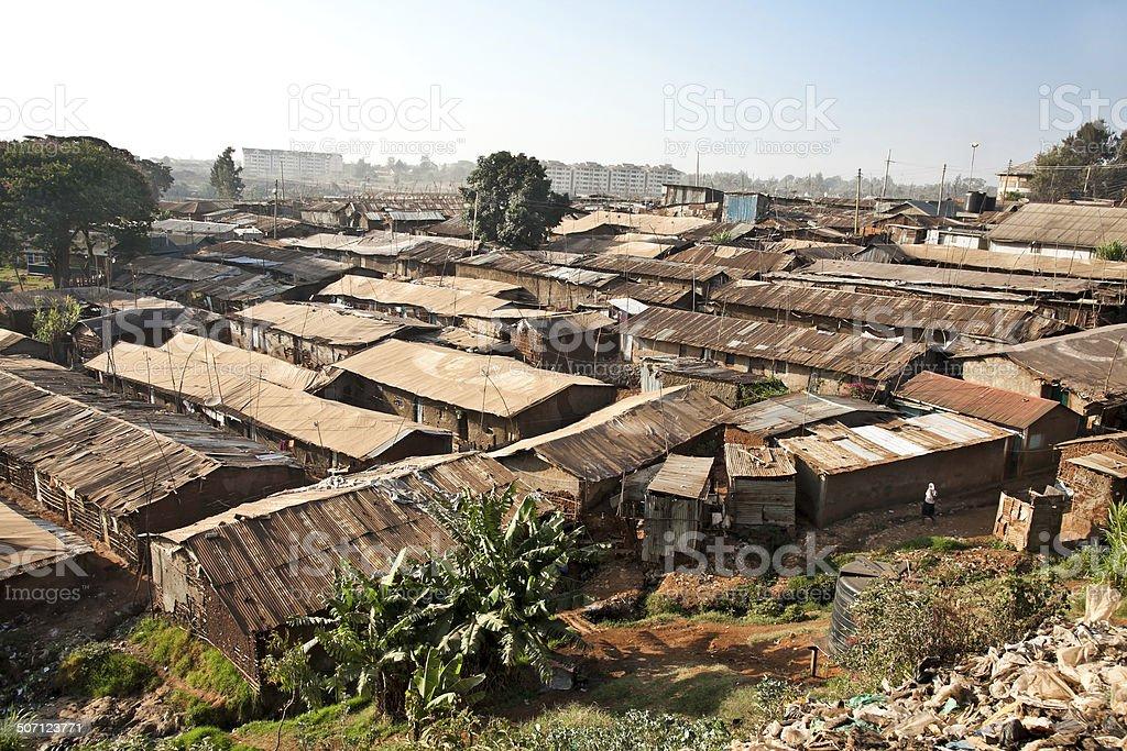 Panoriamic view of Kibera slums in Nairobi, Kenya. stock photo