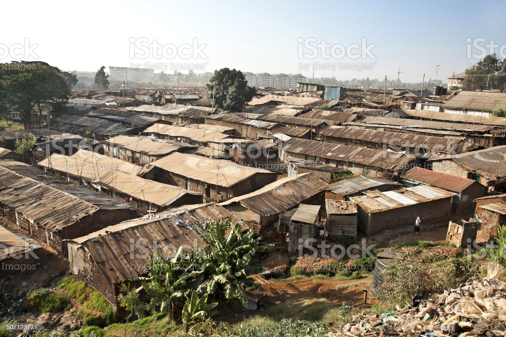 Panoriamic view of Kibera slums in Nairobi, Kenya. royalty-free stock photo