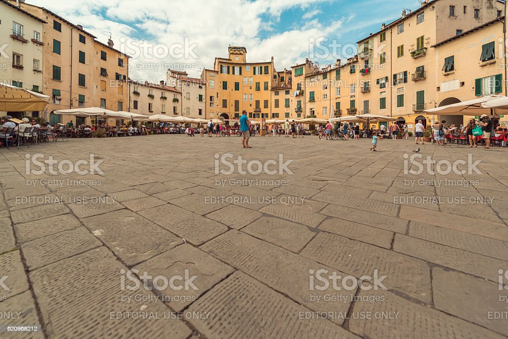 Panorma Piazza Anfiteatro lucca stock photo