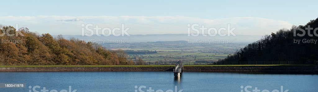 Panormaic view of a reservoir on the Malvern Hills stock photo
