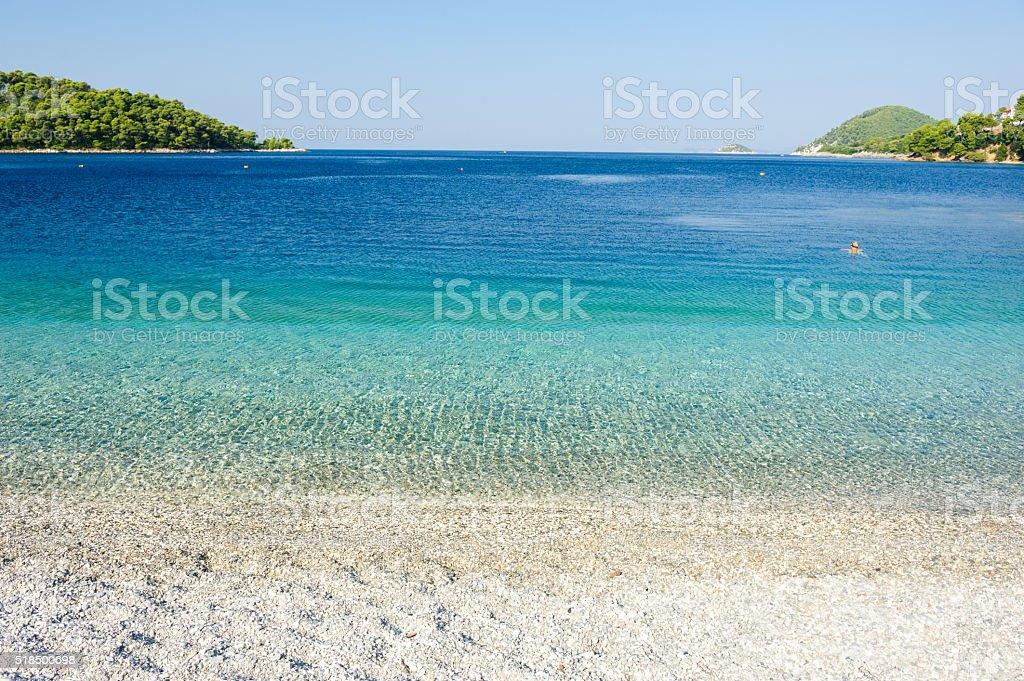 Panormos beach panorama Skopelos stock photo