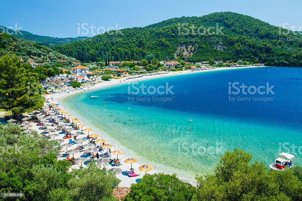 Panormos beach, Skopelos island, Greece stock photo