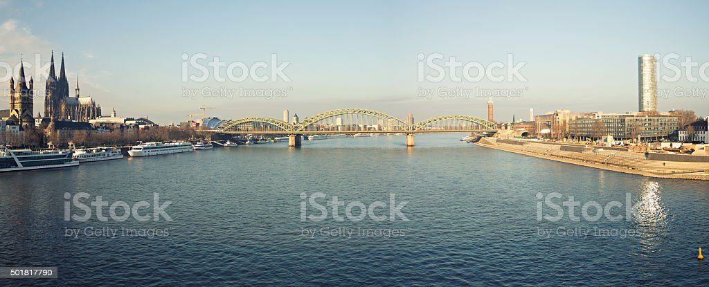 Panoroma of river Rheine in Cologne Germany stock photo