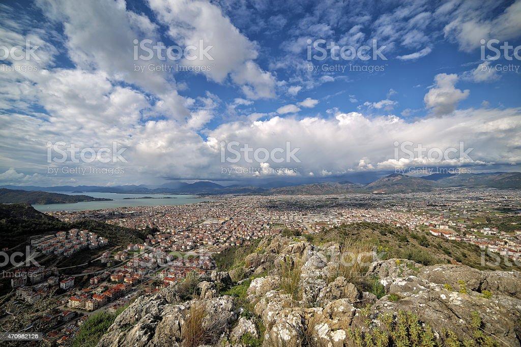 Panoromic view of Fethiye City stock photo