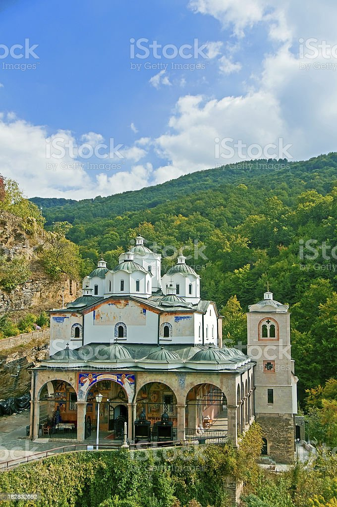 Panororamic View of Old Monastery in the Forest royalty-free stock photo