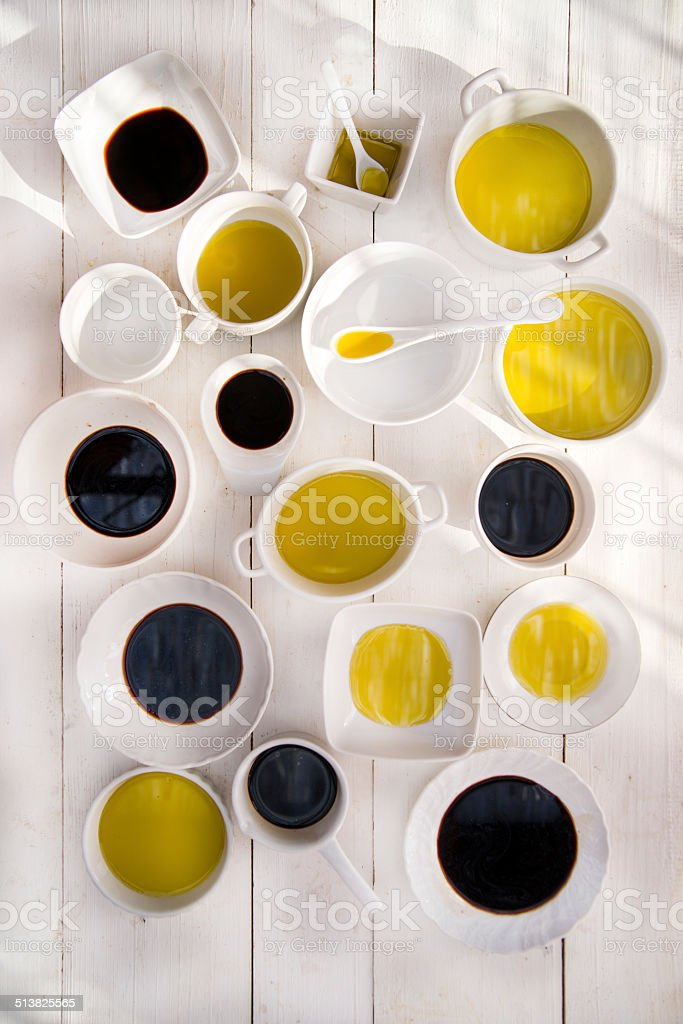 Pans with oil and vinegar stock photo