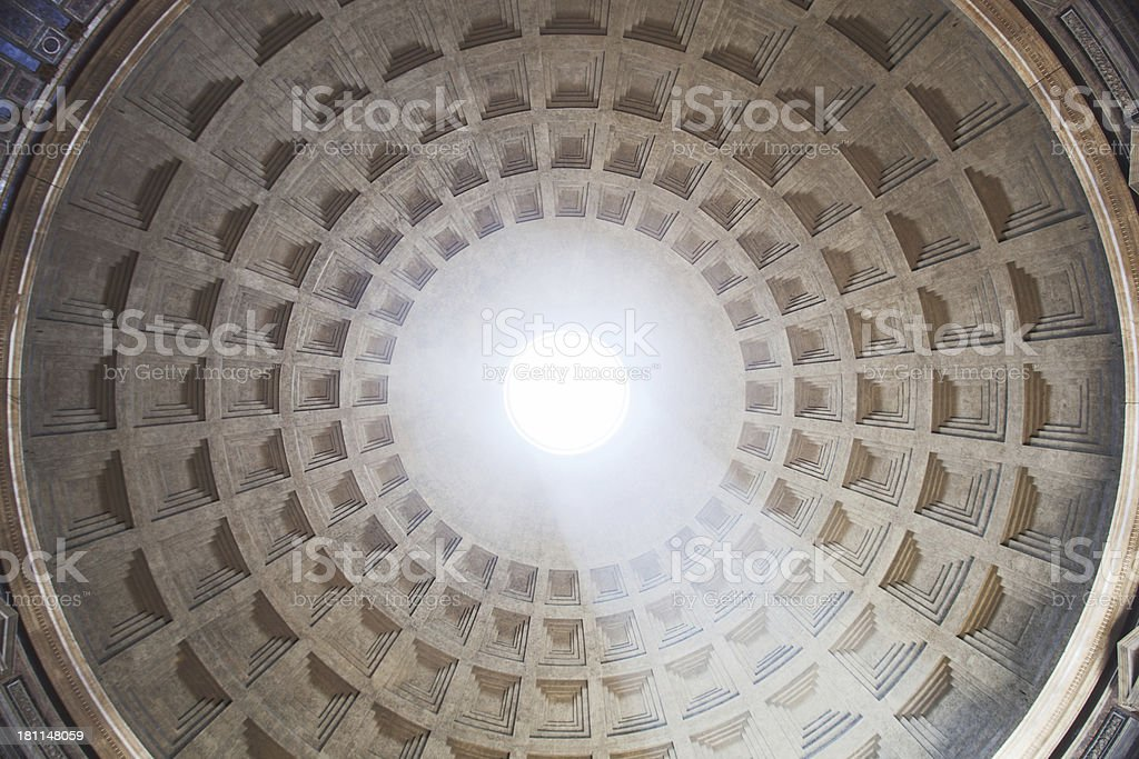 Pantehon's domo and oculus seen from underneath. royalty-free stock photo