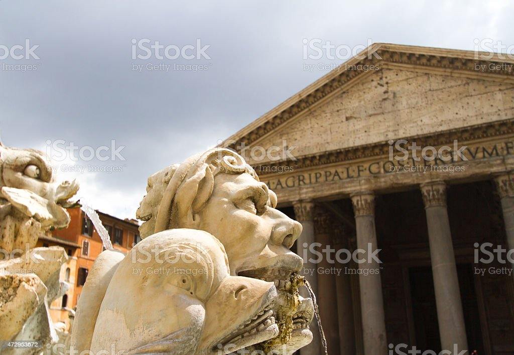 Pantheon and Sunlit Fountain Detail in Dramatic Light, Rome, Italy stock photo