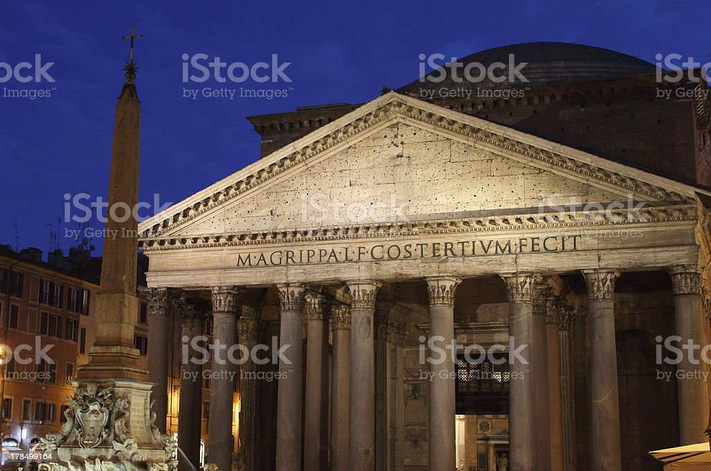 Pantheon at night in Rome stock photo