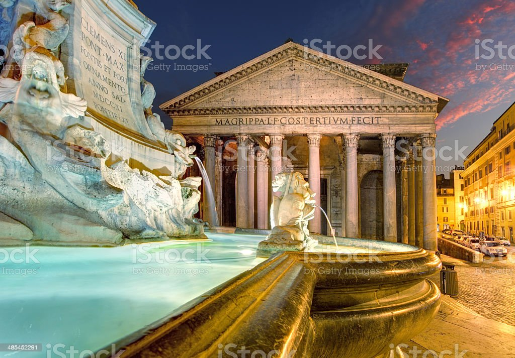 Pantheon by night, Rome Italy stock photo