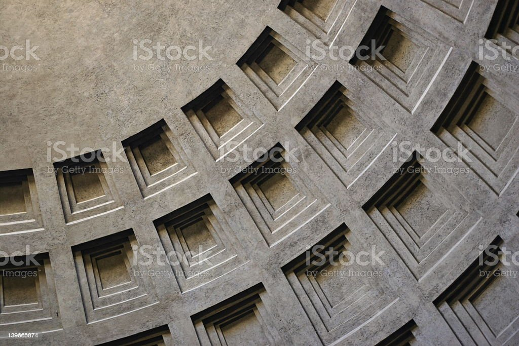Pantheon dome in Rome with architectural features stock photo