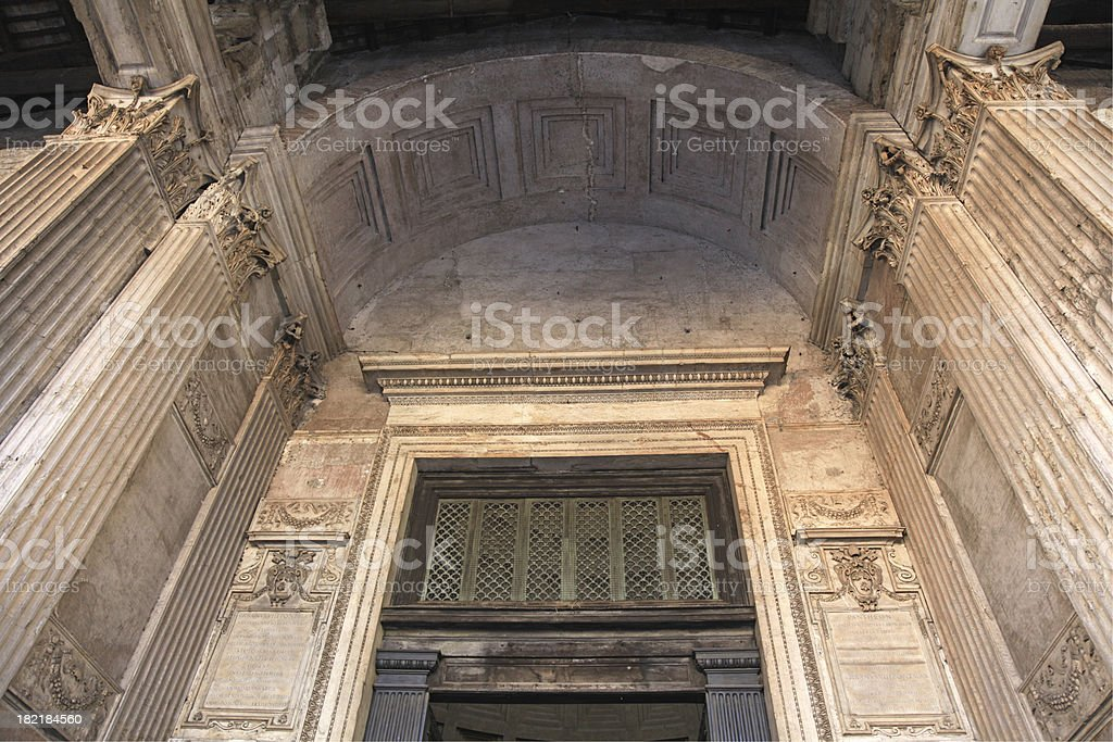 Pantheon door and columns royalty-free stock photo