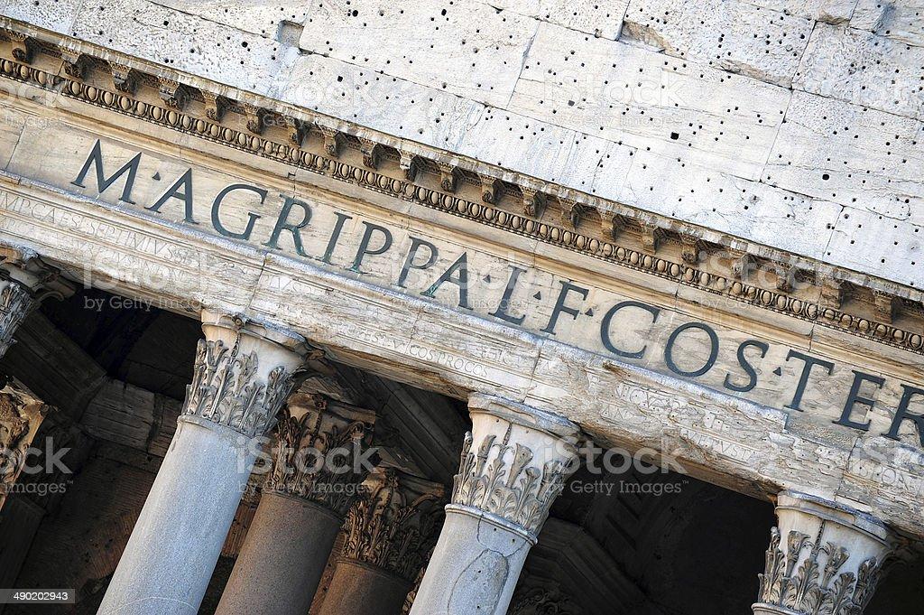 Pantheon entrance, Rome stock photo