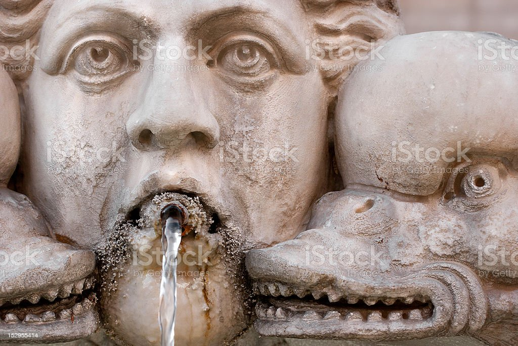 Pantheon Fountain Detail in Rome stock photo