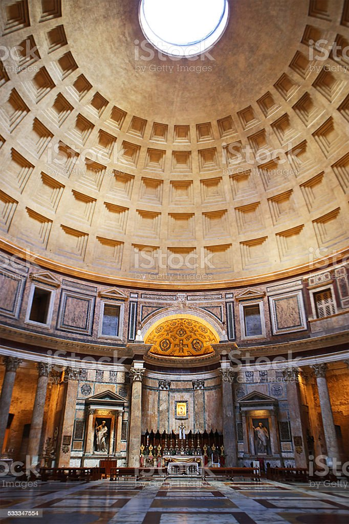 Pantheon in Rome - interior without people stock photo