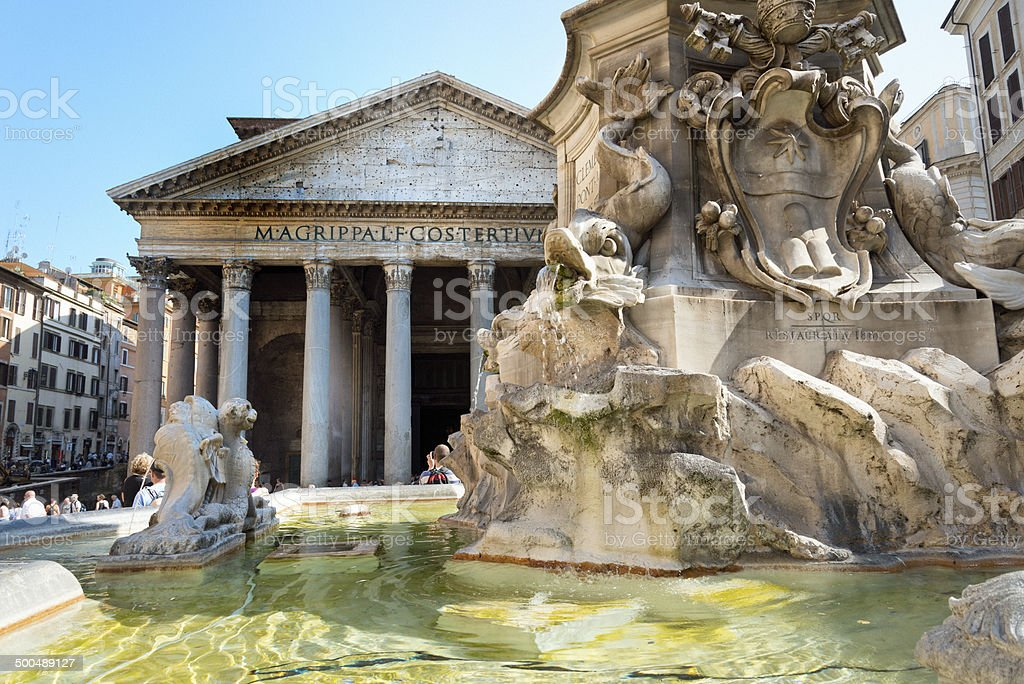 Pantheon in the early morning, Rome Italy royalty-free stock photo