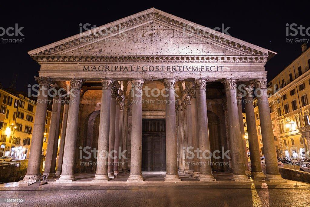 Pantheon Rome at Night stock photo