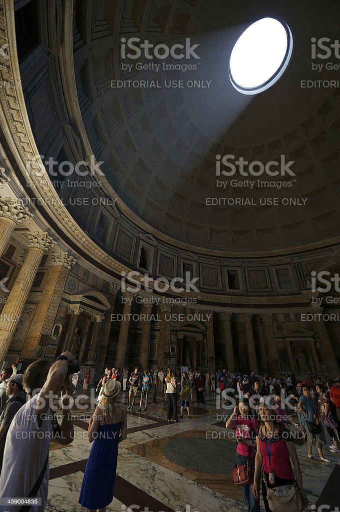 Pantheon Rome Interior Dome with Tourists royalty-free stock photo