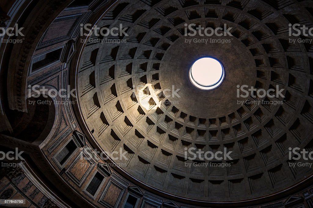Pantheon's dome ceiling stock photo