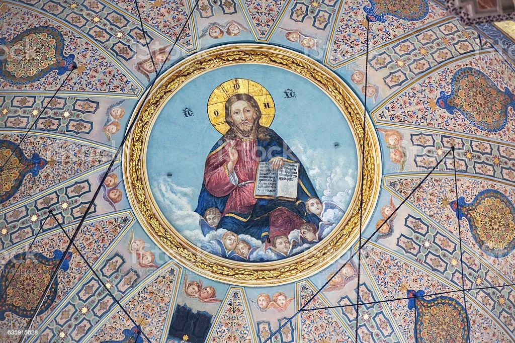 Pantocrator in t Greek Orthodox Church in Istanbul stock photo