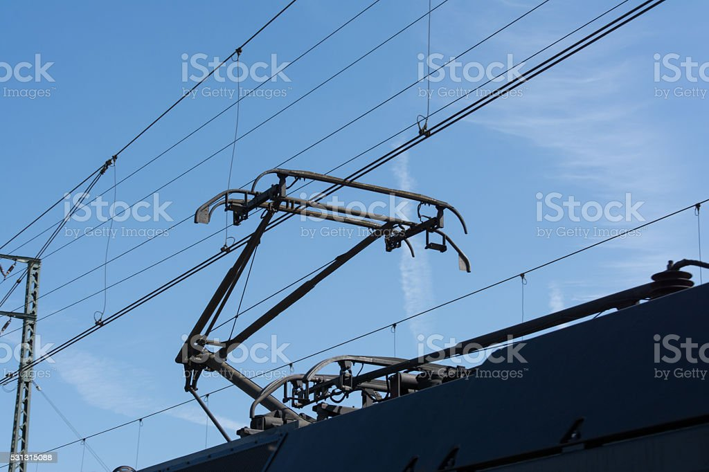 Pantograph of a freight train in Germany stock photo