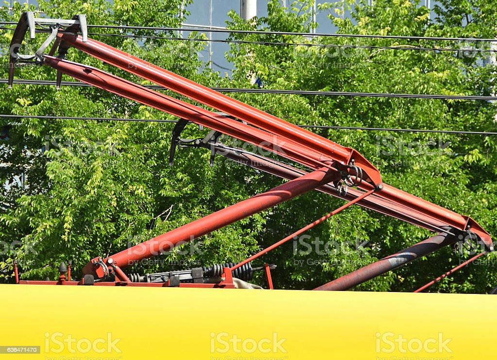 Pantograph of a streetcar stock photo