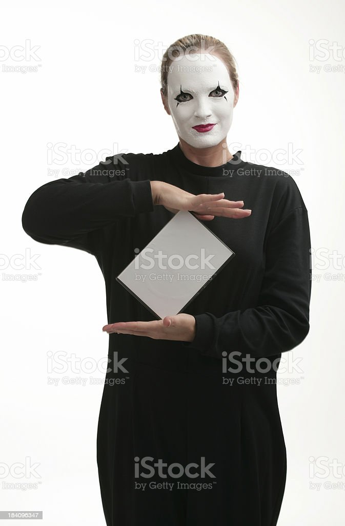Pantomime presenting a product royalty-free stock photo