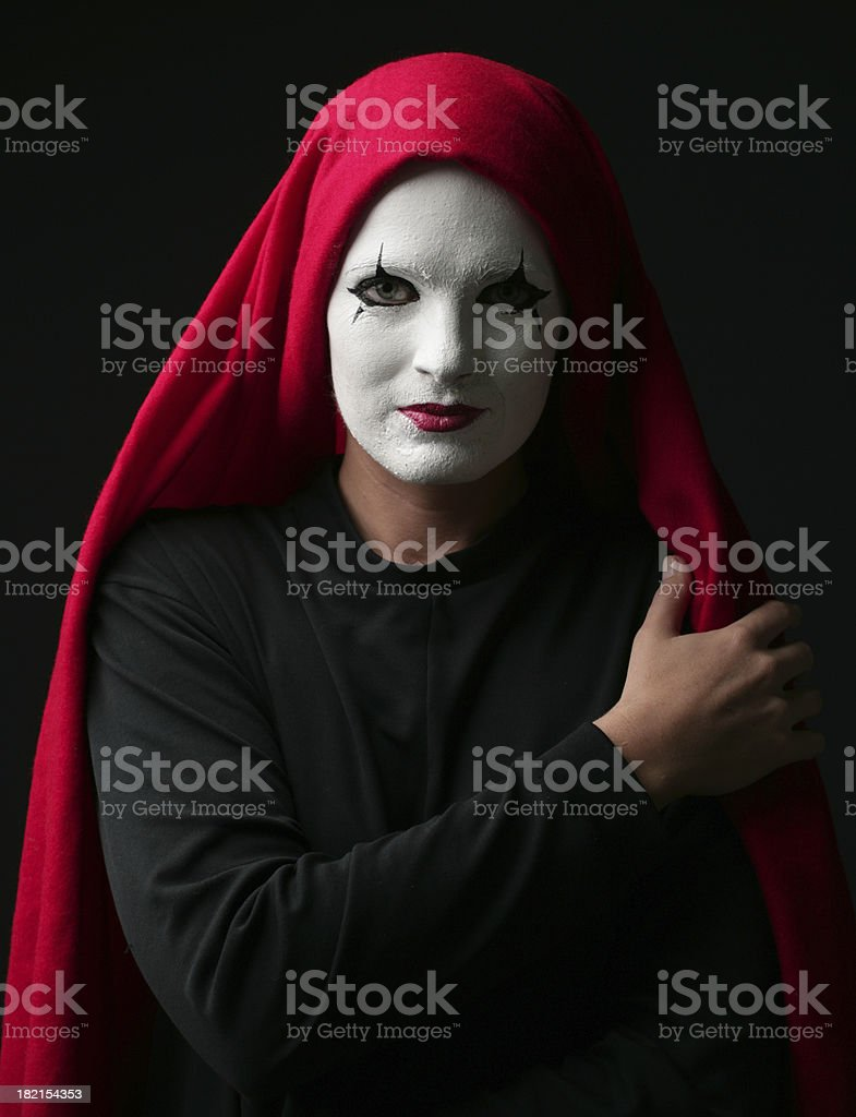 Pantomime with red headscarf royalty-free stock photo