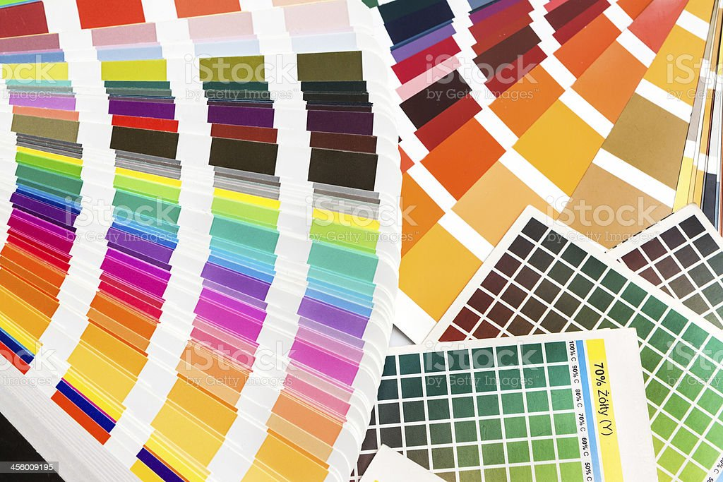 Pantone, cmyk, ral color swatches stock photo