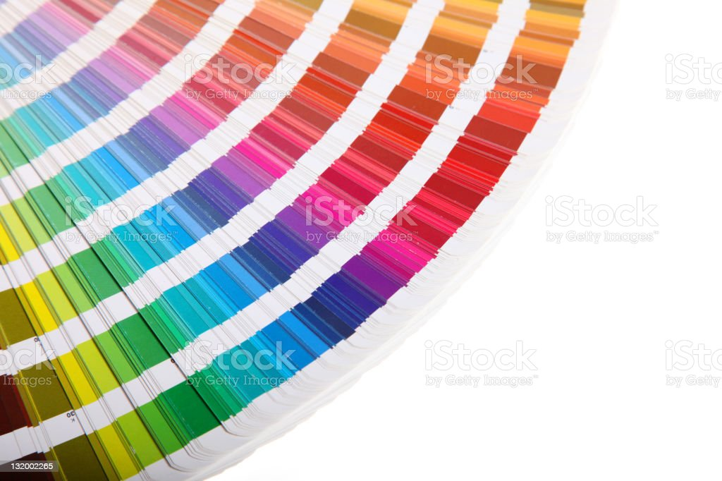 Pantone swatch book on white background royalty-free stock photo