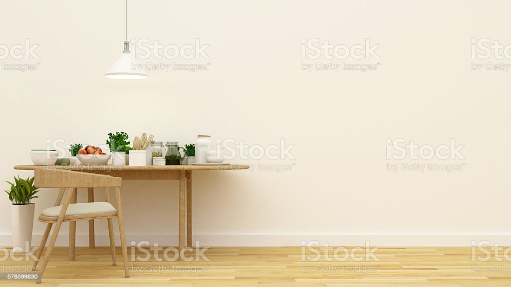 pantry and dining area - 3d rendering stock photo