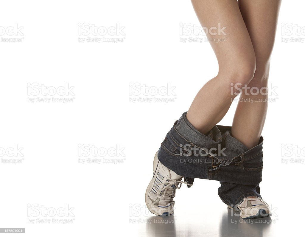 Pants On The Ground Around Ankles, Girl With Nice Legs royalty-free stock photo