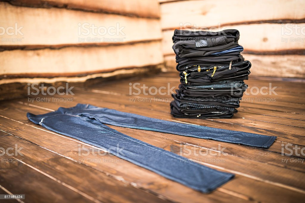 Pants stacked stock photo