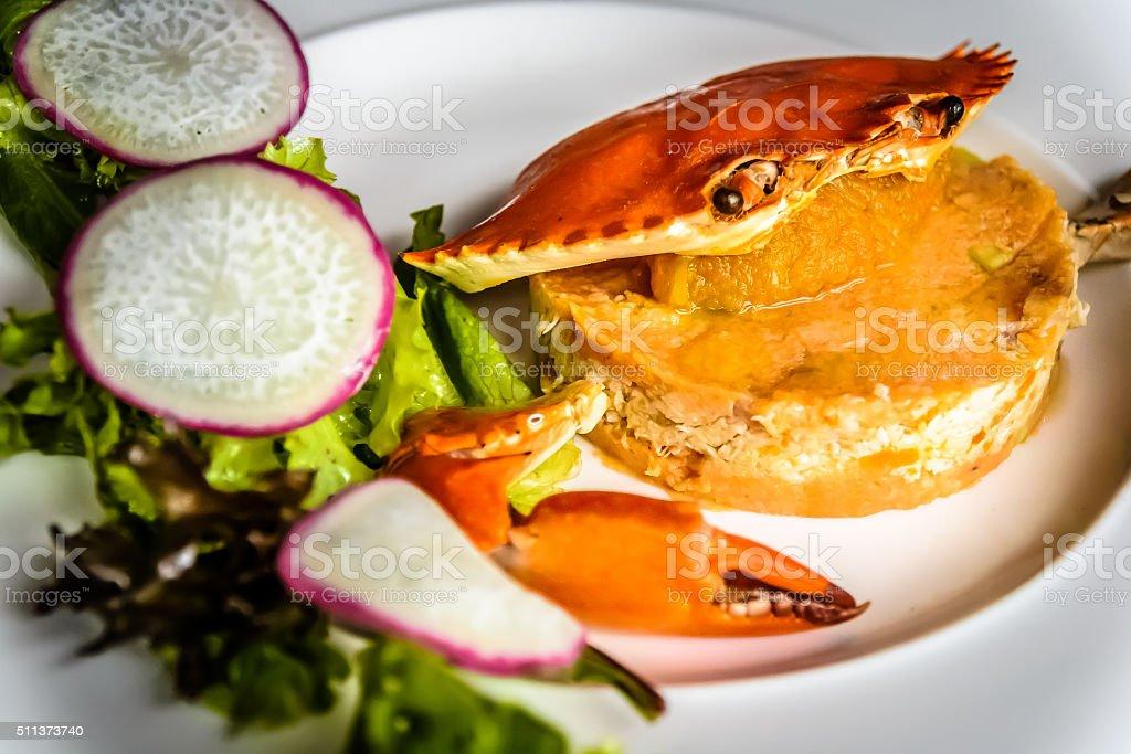 Panzanella Crab Meat Salad Granchio with marinated Tomato Lemon dressing stock photo