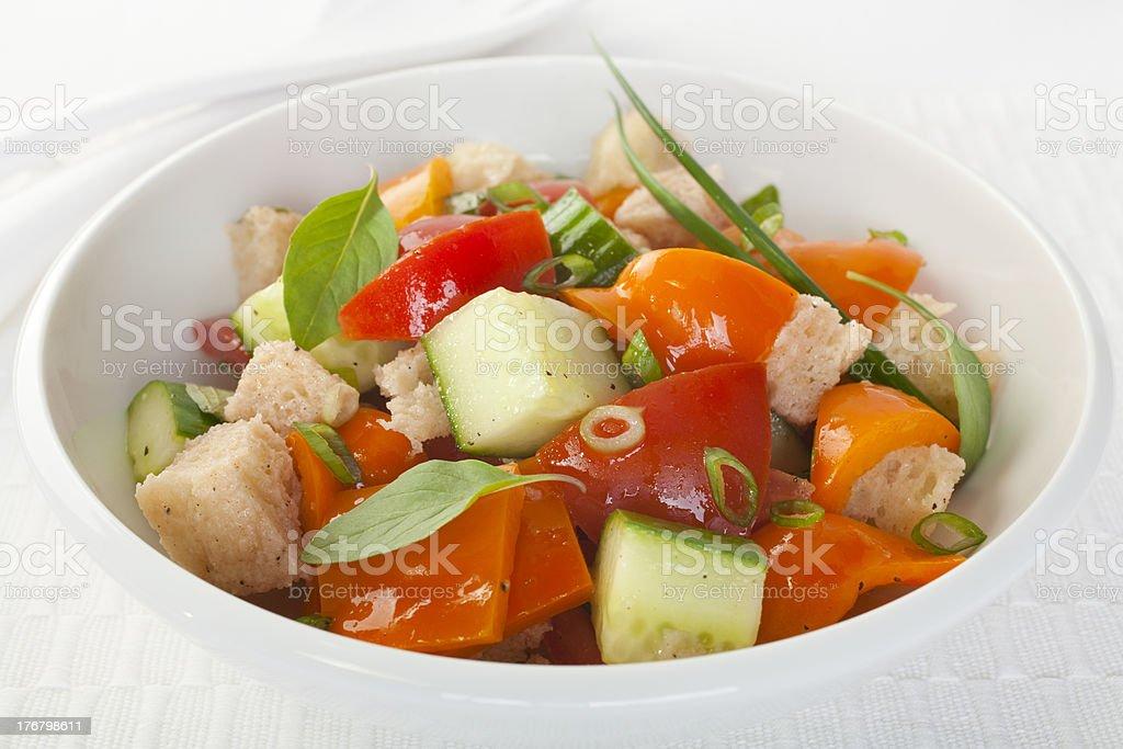 Panzanella Italian Bread and Tomato Salad stock photo