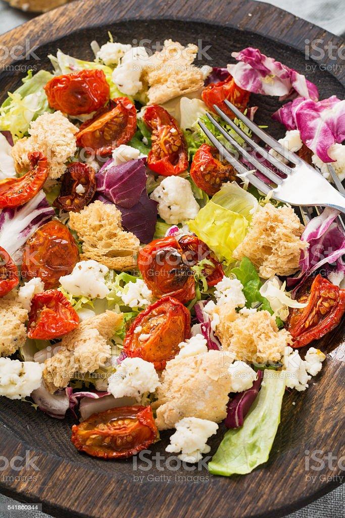 Panzanella salad: italian fresh salad with tomato and bread stock photo