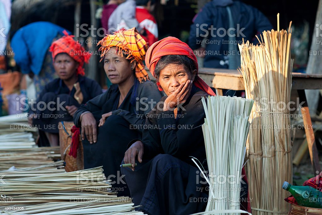 Pa-O tribal women in Shan state, Myanmar stock photo