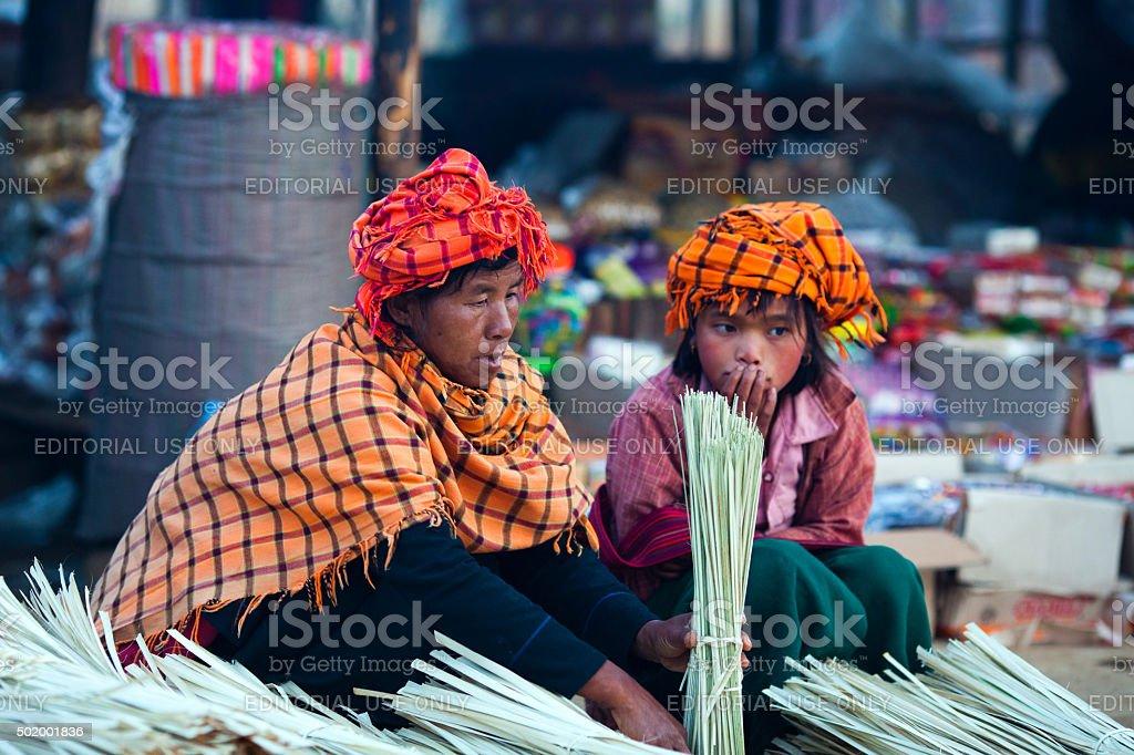 Pa-O tribal women, Myanmar stock photo