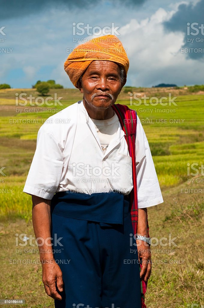 Pao village man in Shan State, Burma/Myanmar stock photo
