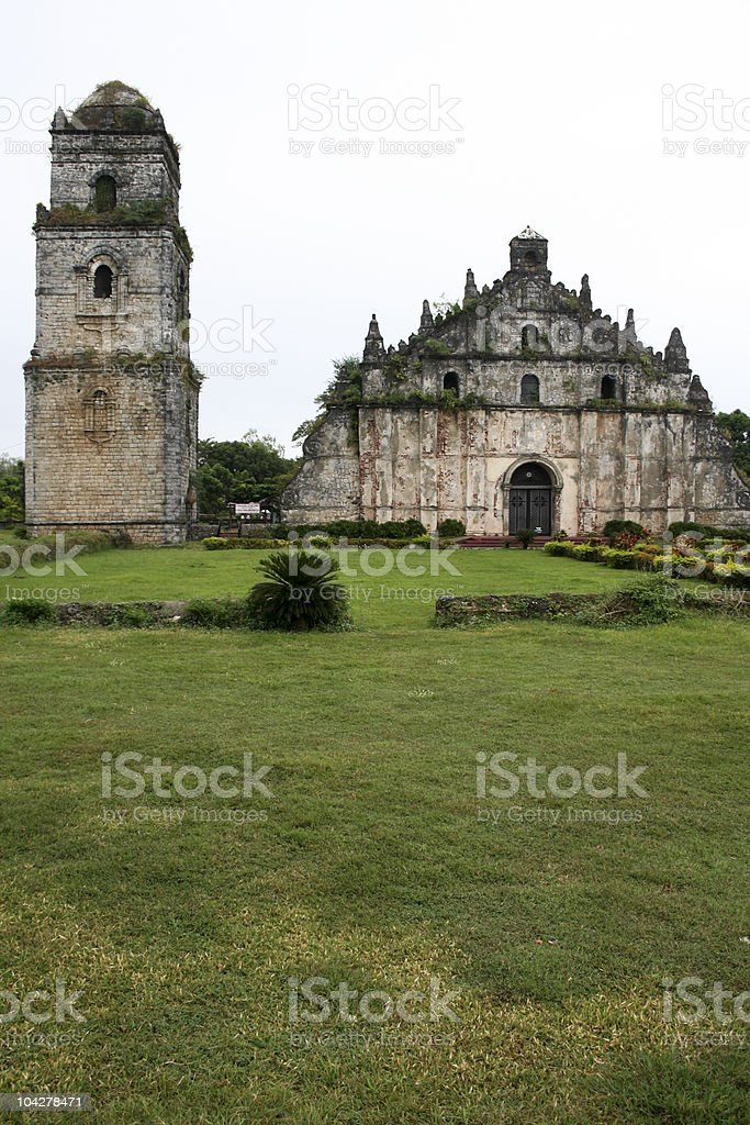 paoay coral block church philippines royalty-free stock photo