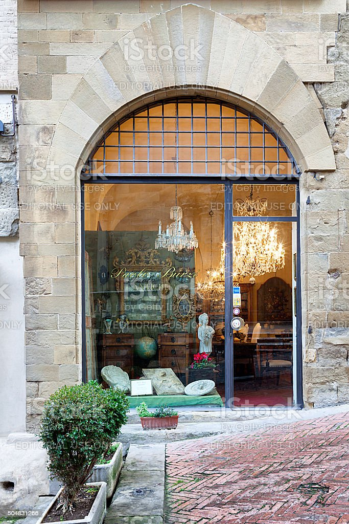 Paolo Burzi Antiquities Shop Arezzo Tuscany stock photo