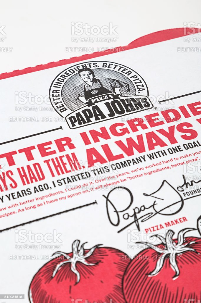 Papa John's pizza box detail stock photo