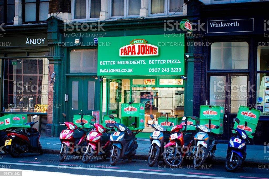 Papa Johns Pizza restaurant stock photo